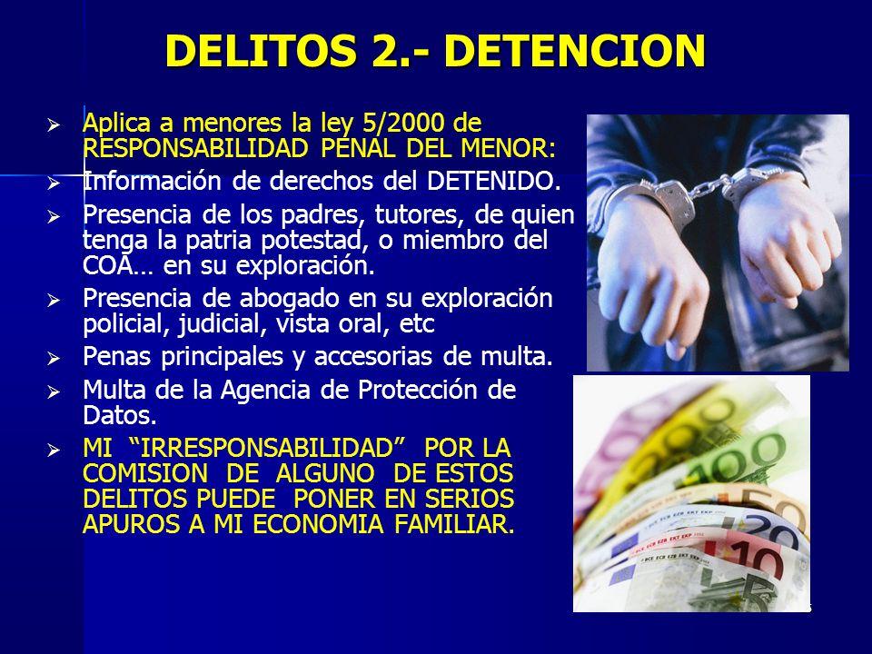 DELITOS 2.- DETENCION Aplica a menores la ley 5/2000 de RESPONSABILIDAD PENAL DEL MENOR: Información de derechos del DETENIDO.
