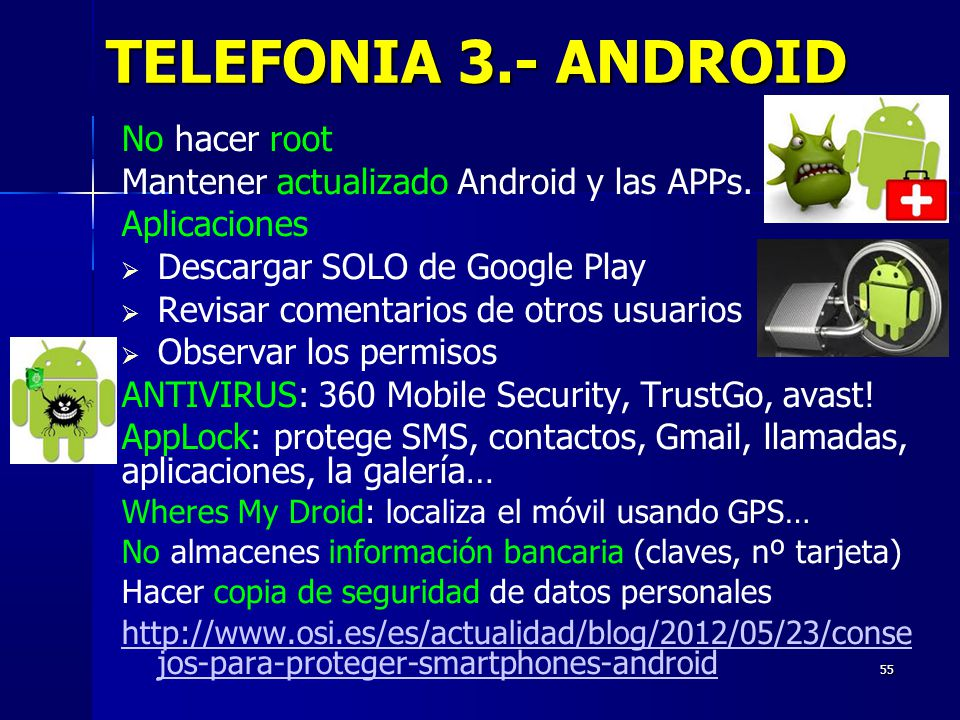 TELEFONIA 3.- ANDROID No hacer root