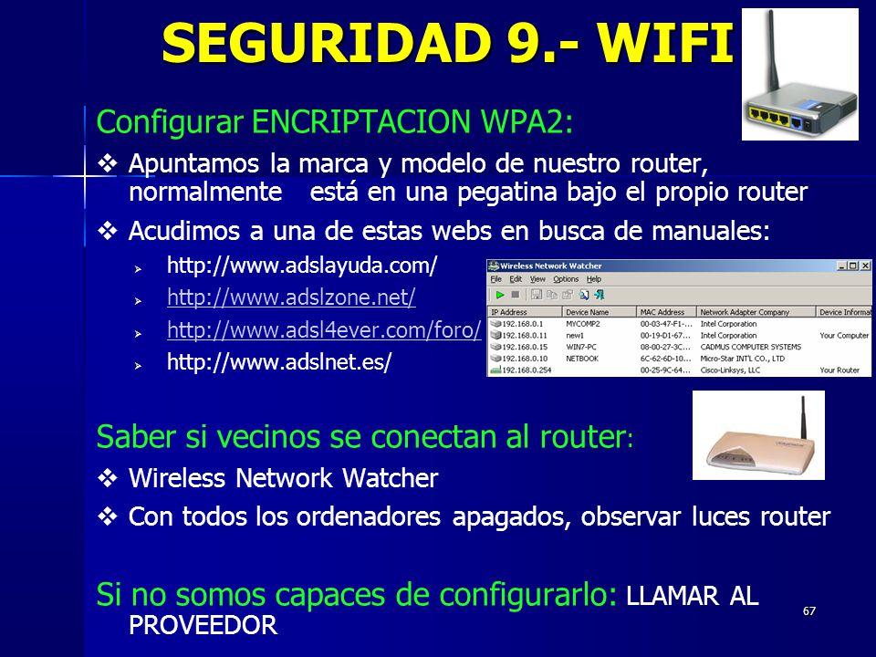 SEGURIDAD 9.- WIFI Configurar ENCRIPTACION WPA2: