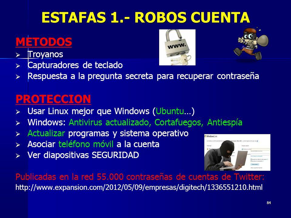 ESTAFAS 1.- ROBOS CUENTA METODOS PROTECCION Troyanos