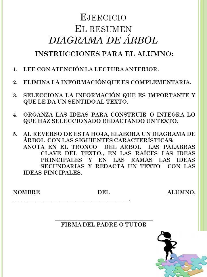 Ejercicio El resumen DIAGRAMA DE ÁRBOL