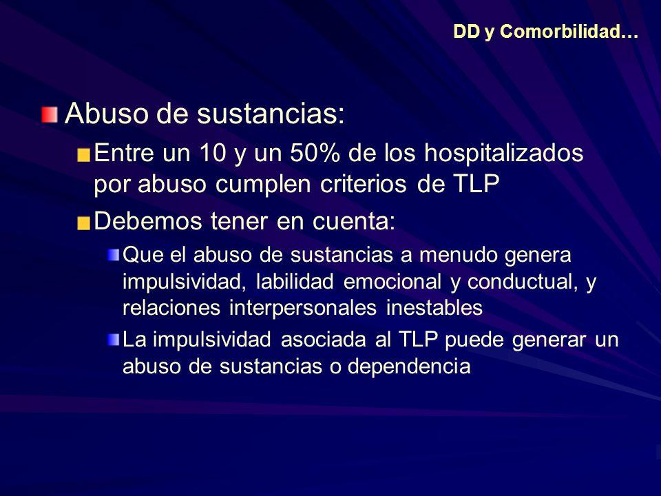 DD y Comorbilidad… Abuso de sustancias: Entre un 10 y un 50% de los hospitalizados por abuso cumplen criterios de TLP.