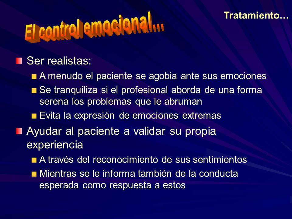 El control emocional... Ser realistas: