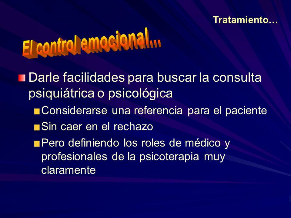 Tratamiento… El control emocional... Darle facilidades para buscar la consulta psiquiátrica o psicológica.