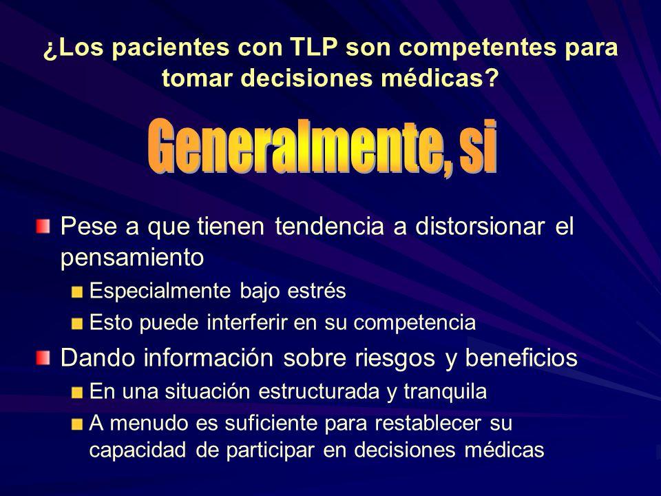 ¿Los pacientes con TLP son competentes para tomar decisiones médicas