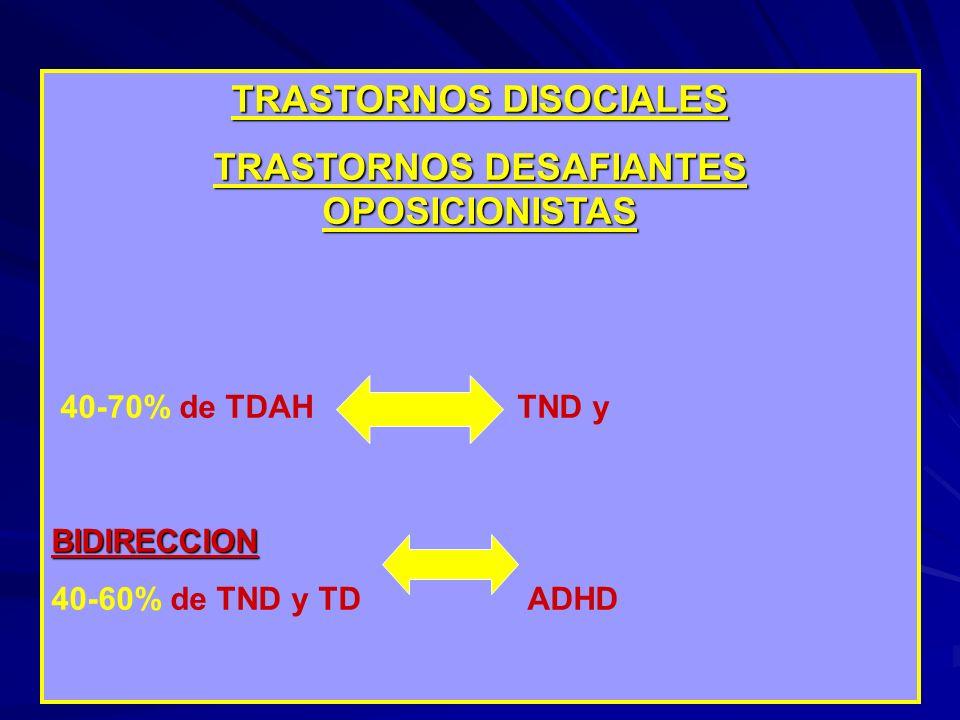 TRASTORNOS DISOCIALES TRASTORNOS DESAFIANTES OPOSICIONISTAS