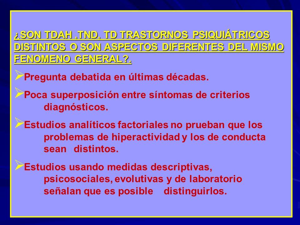 ¿SON TDAH ,TND, TD TRASTORNOS PSIQUIÁTRICOS DISTINTOS O SON ASPECTOS DIFERENTES DEL MISMO FENOMENO GENERAL .