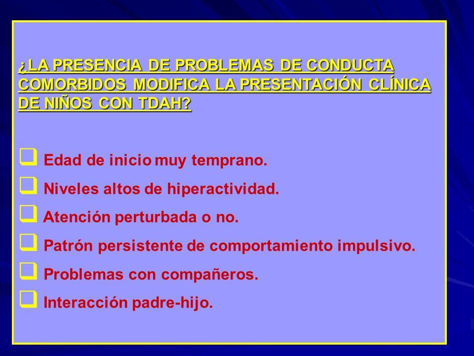 ¿LA PRESENCIA DE PROBLEMAS DE CONDUCTA COMORBIDOS MODIFICA LA PRESENTACIÓN CLÍNICA DE NIÑOS CON TDAH