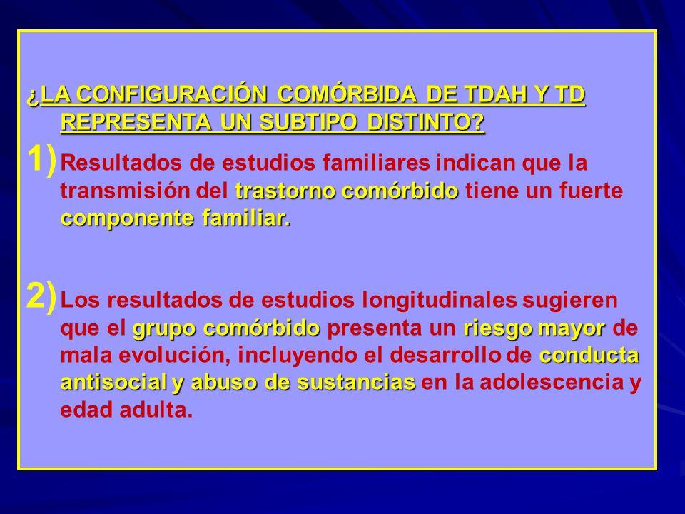 ¿LA CONFIGURACIÓN COMÓRBIDA DE TDAH Y TD REPRESENTA UN SUBTIPO DISTINTO