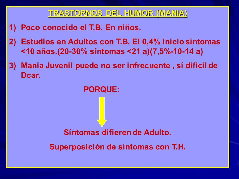TRASTORNOS DEL HUMOR (MANIA) Poco conocido el T.B. En niños.