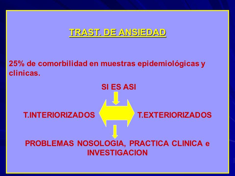 TRAST. DE ANSIEDAD 25% de comorbilidad en muestras epidemiológicas y clinicas. SI ES ASI. T.INTERIORIZADOS T.EXTERIORIZADOS.