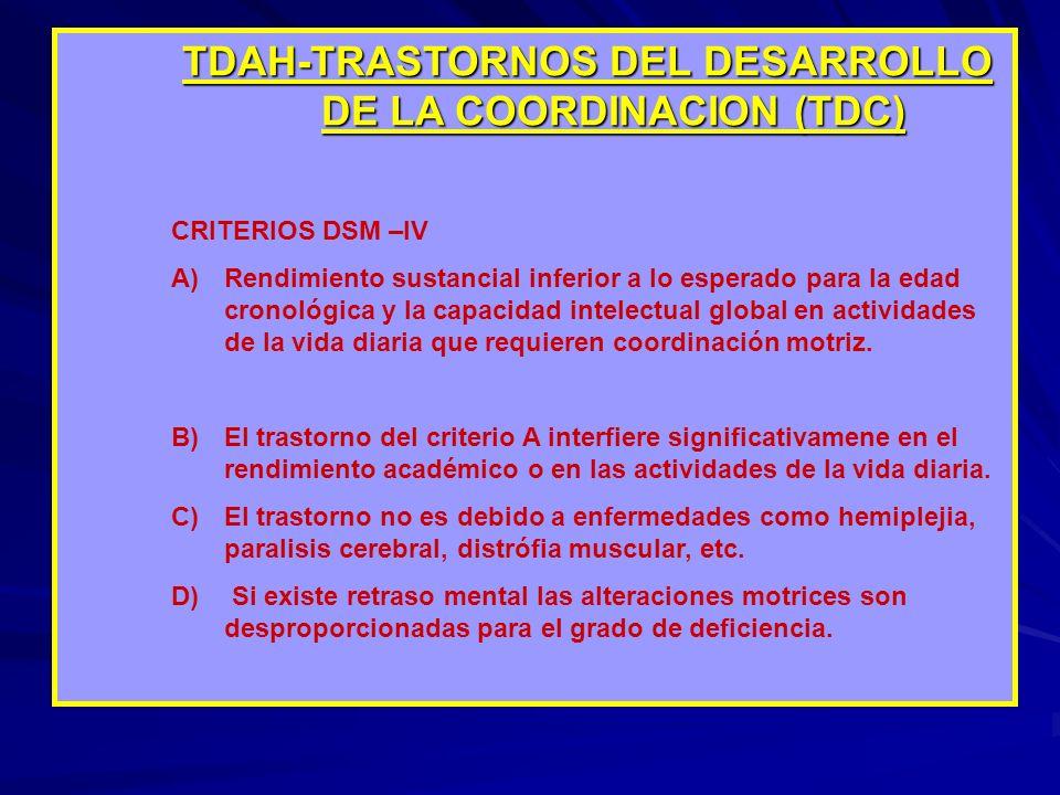 TDAH-TRASTORNOS DEL DESARROLLO DE LA COORDINACION (TDC)