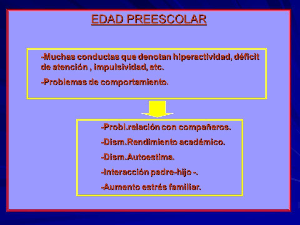 EDAD PREESCOLAR -Muchas conductas que denotan hiperactividad, déficit de atención , impulsividad, etc.