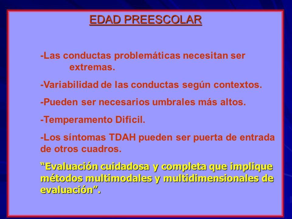 EDAD PREESCOLAR -Las conductas problemáticas necesitan ser extremas.