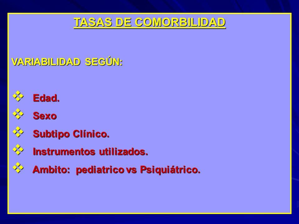 TASAS DE COMORBILIDAD VARIABILIDAD SEGÚN: Edad. Sexo Subtipo Clínico.