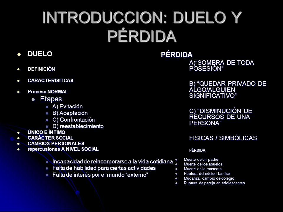 INTRODUCCION: DUELO Y PÉRDIDA