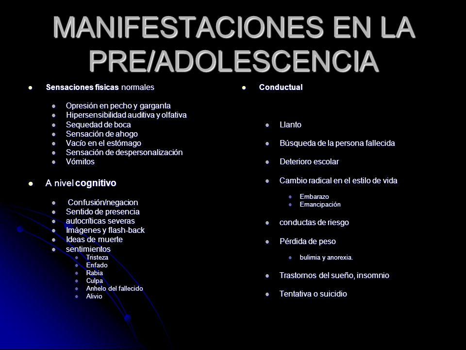 MANIFESTACIONES EN LA PRE/ADOLESCENCIA