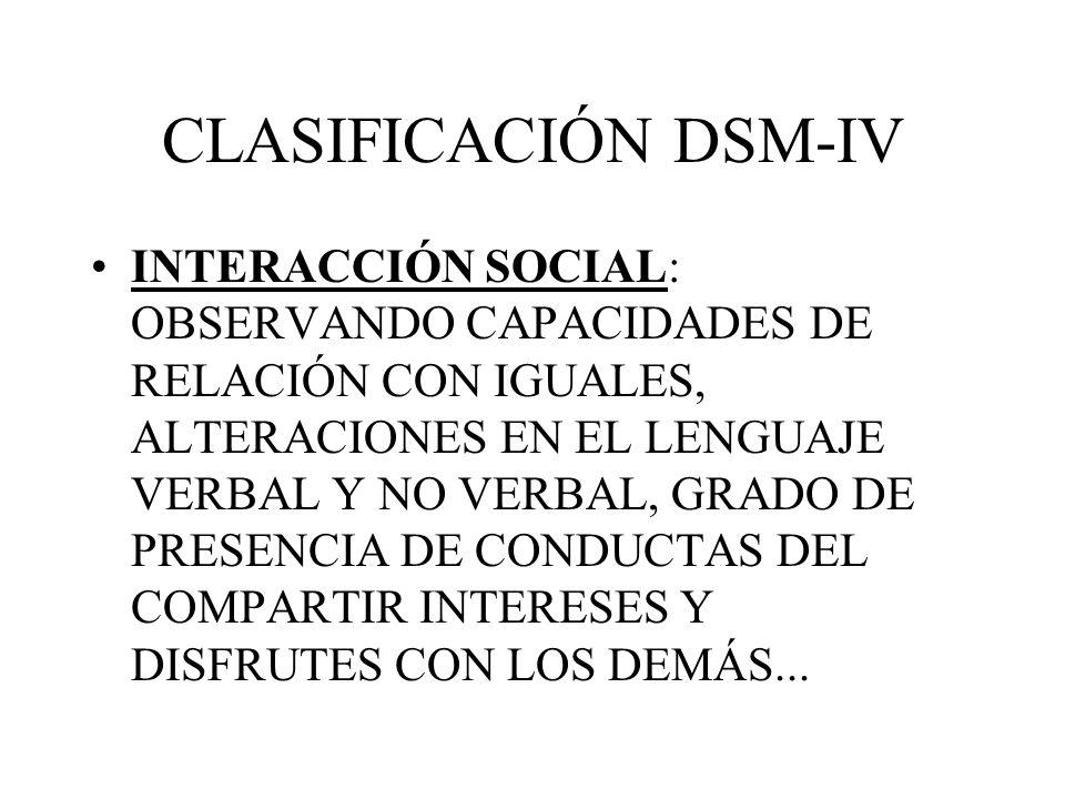 CLASIFICACIÓN DSM-IV