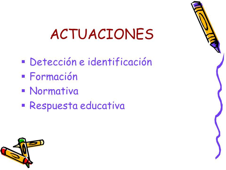 ACTUACIONES Detección e identificación Formación Normativa