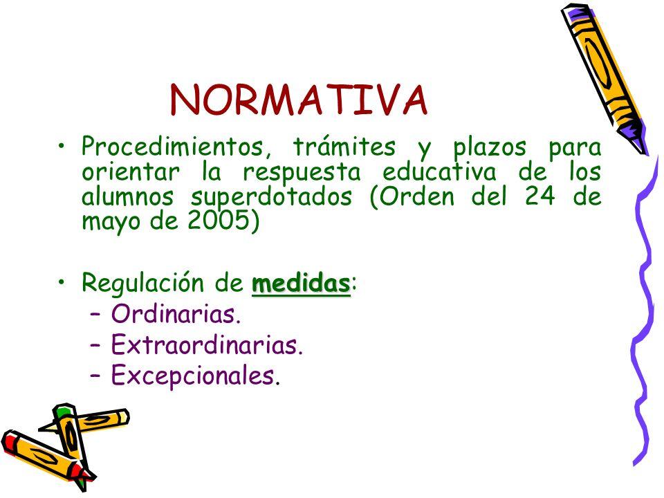 NORMATIVA Procedimientos, trámites y plazos para orientar la respuesta educativa de los alumnos superdotados (Orden del 24 de mayo de 2005)