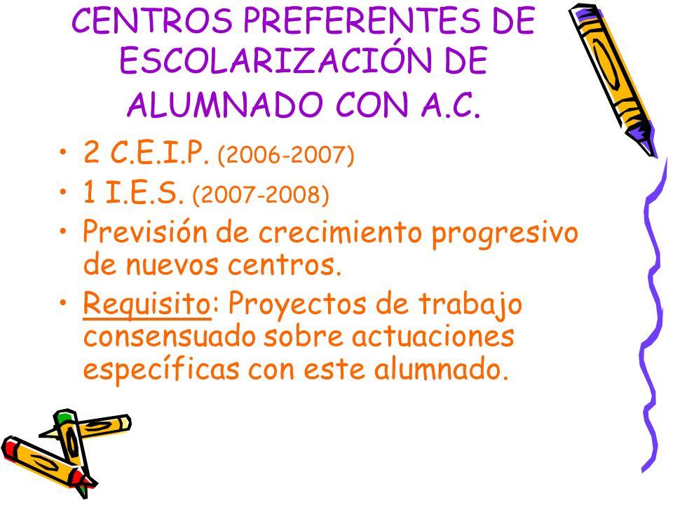 CENTROS PREFERENTES DE ESCOLARIZACIÓN DE ALUMNADO CON A.C.