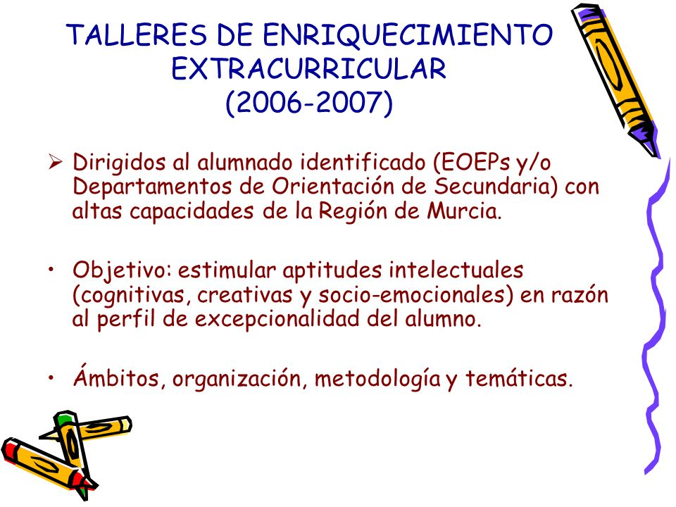 TALLERES DE ENRIQUECIMIENTO EXTRACURRICULAR (2006-2007)