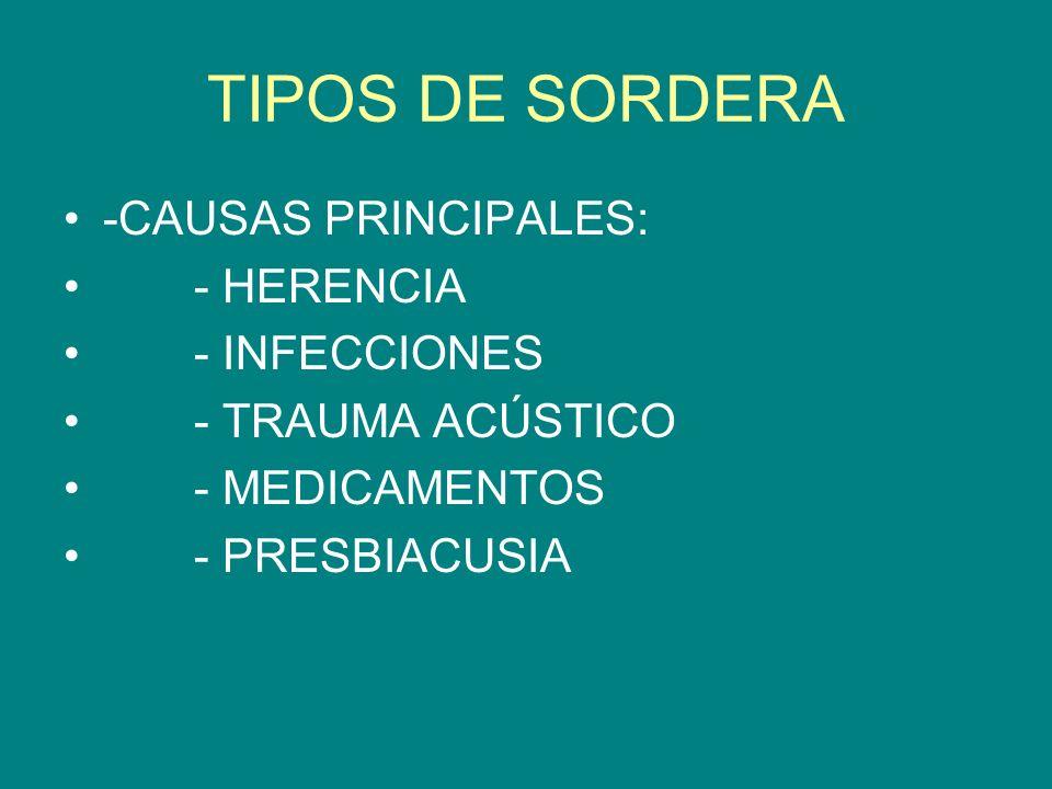 TIPOS DE SORDERA -CAUSAS PRINCIPALES: - HERENCIA - INFECCIONES