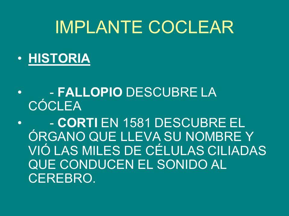IMPLANTE COCLEAR HISTORIA - FALLOPIO DESCUBRE LA CÓCLEA