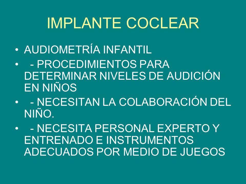 IMPLANTE COCLEAR AUDIOMETRÍA INFANTIL
