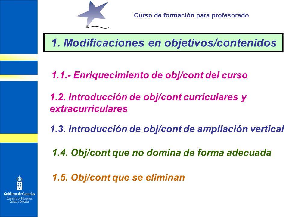 1. Modificaciones en objetivos/contenidos