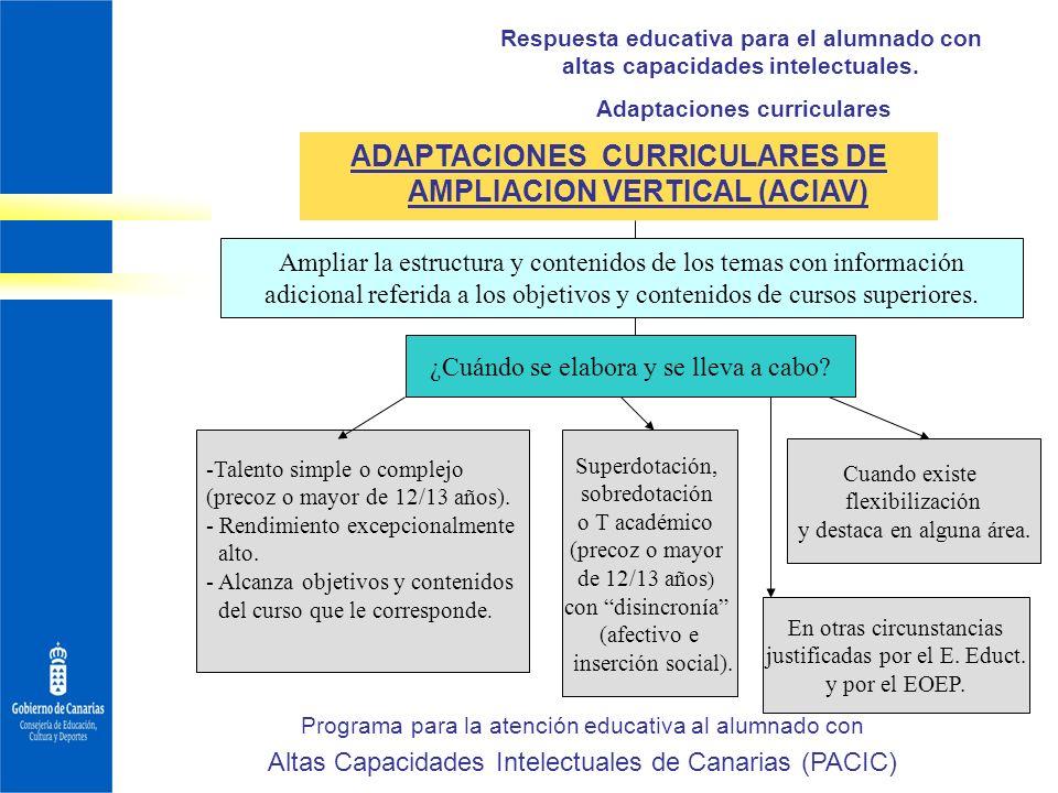 ADAPTACIONES CURRICULARES DE AMPLIACION VERTICAL (ACIAV)