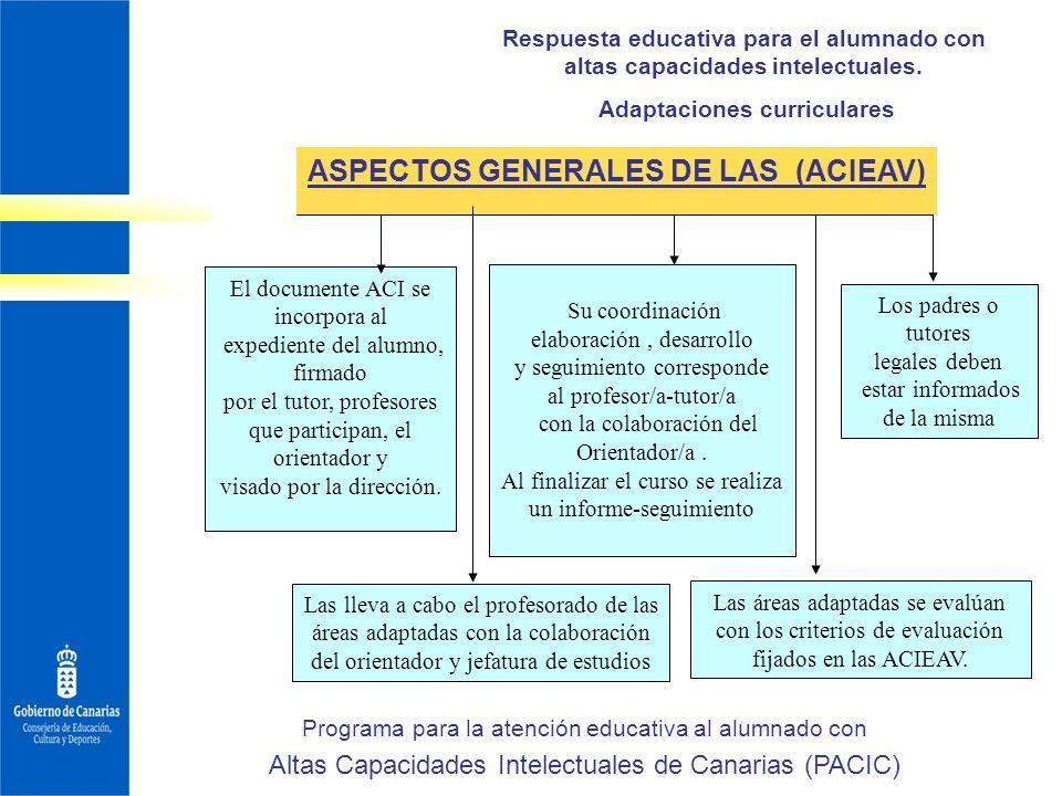 Adaptaciones curriculares ASPECTOS GENERALES DE LAS (ACIEAV)
