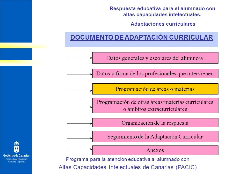 Adaptaciones curriculares DOCUMENTO DE ADAPTACIÓN CURRICULAR
