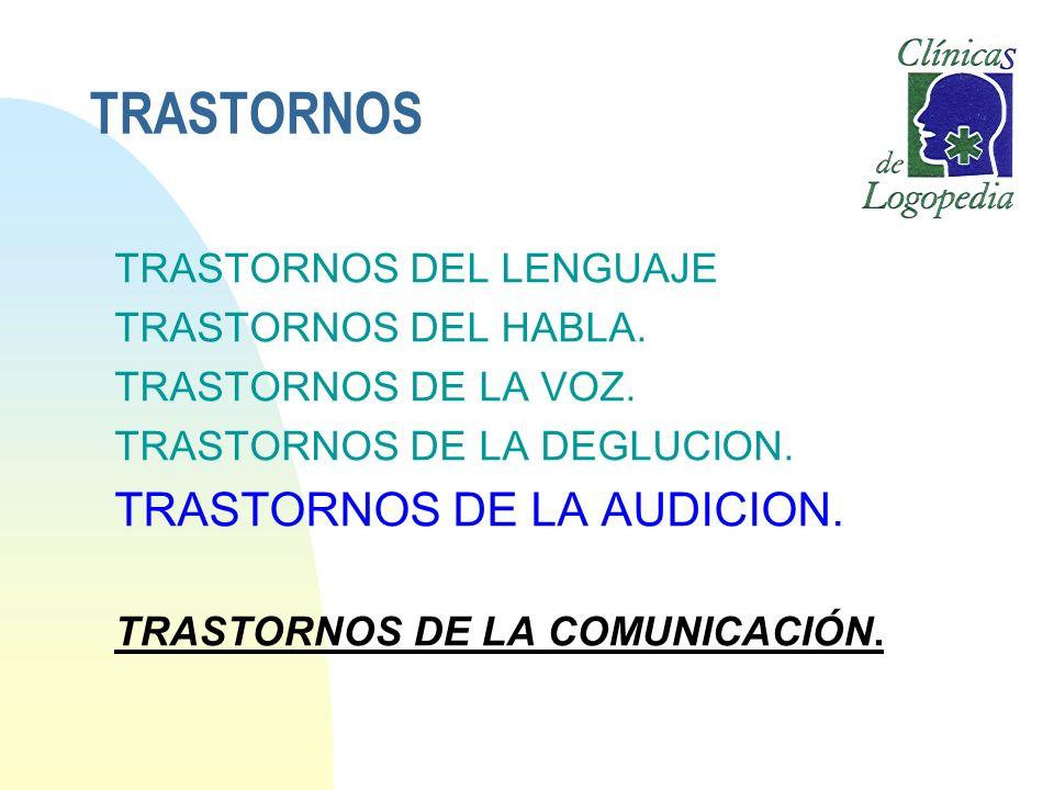 TRASTORNOS TRASTORNOS DE LA AUDICION. TRASTORNOS DEL LENGUAJE