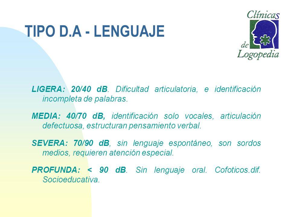 TIPO D.A - LENGUAJELIGERA: 20/40 dB. Dificultad articulatoria, e identificación incompleta de palabras.