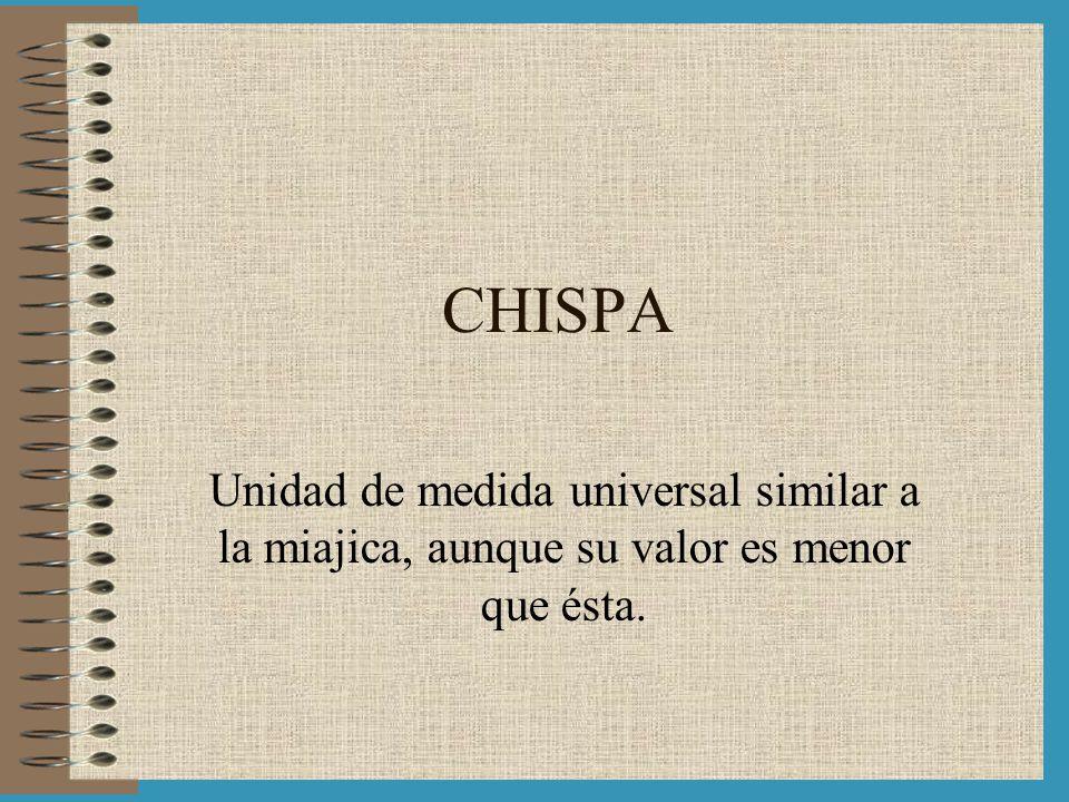 CHISPA Unidad de medida universal similar a la miajica, aunque su valor es menor que ésta.