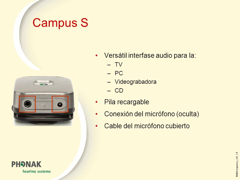 Campus S Versátil interfase audio para la: Pila recargable