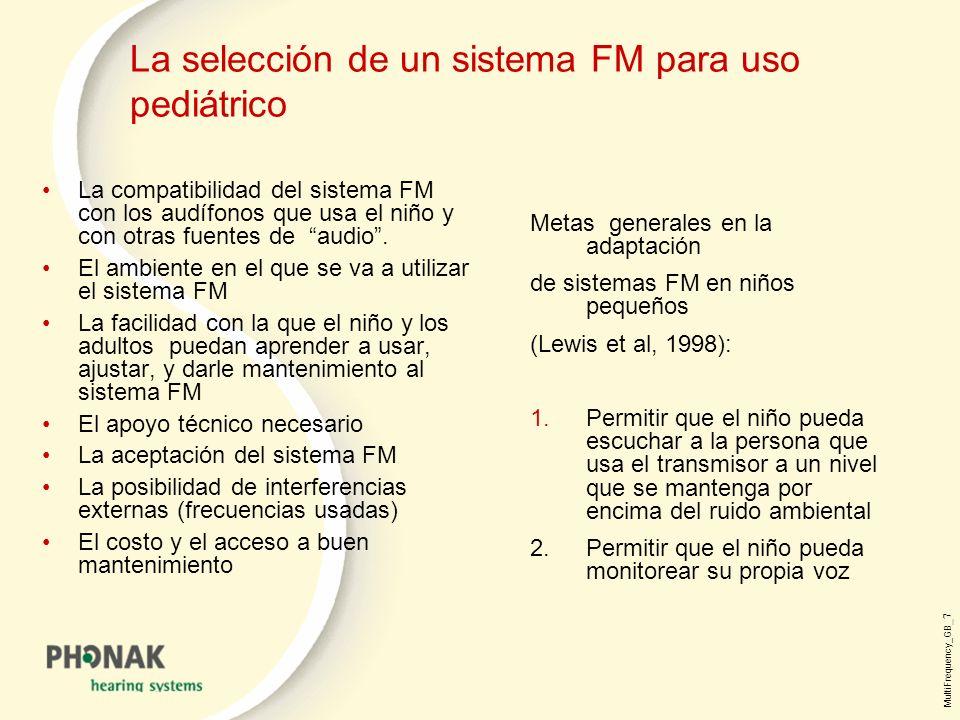 La selección de un sistema FM para uso pediátrico