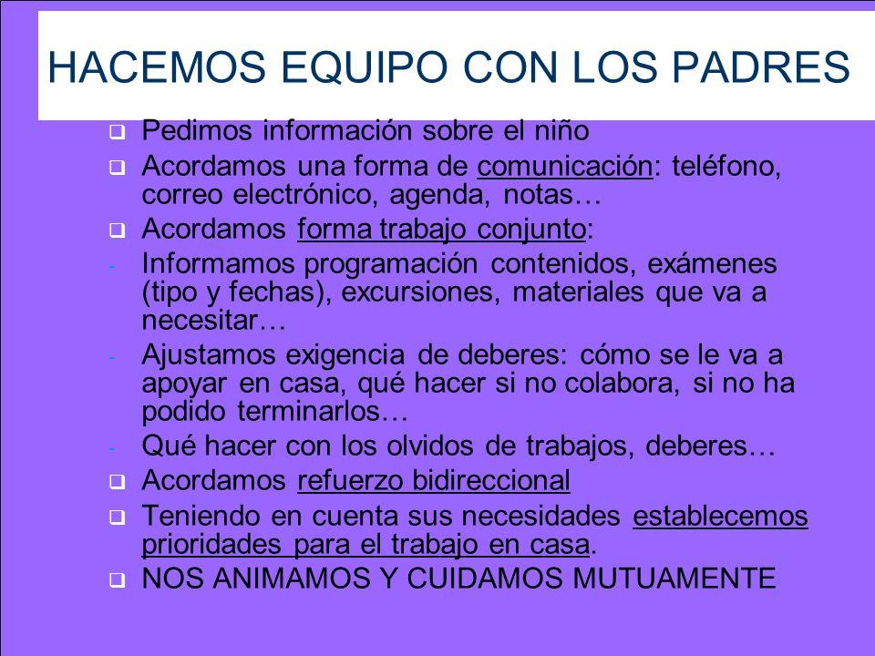 HACEMOS EQUIPO CON LOS PADRES