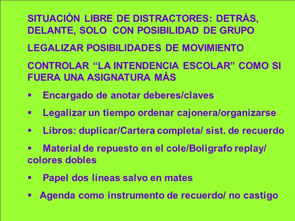 SITUACIÓN LIBRE DE DISTRACTORES: DETRÁS, DELANTE, SOLO CON POSIBILIDAD DE GRUPO
