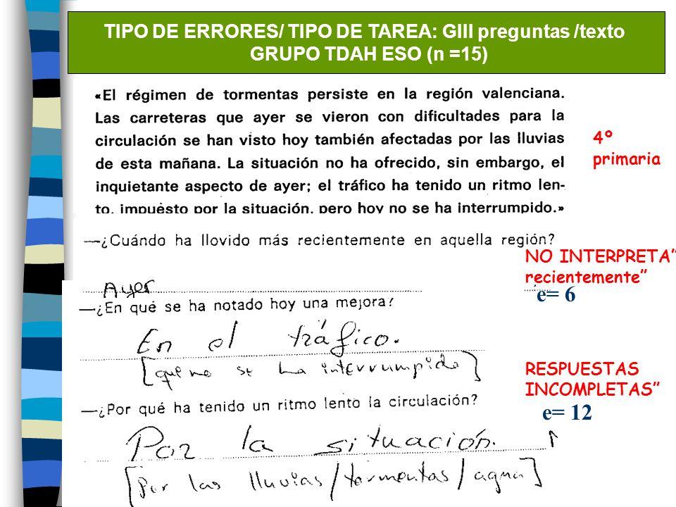 TIPO DE ERRORES/ TIPO DE TAREA: GIII preguntas /texto