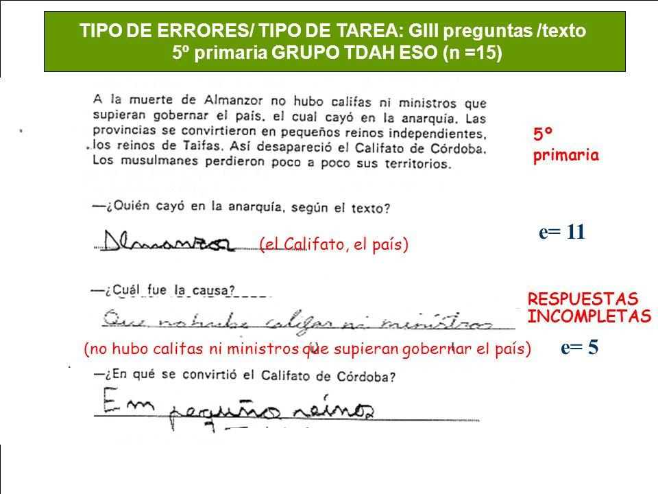 e= 11 e= 6 e= 5 TIPO DE ERRORES/ TIPO DE TAREA: GIII preguntas /texto