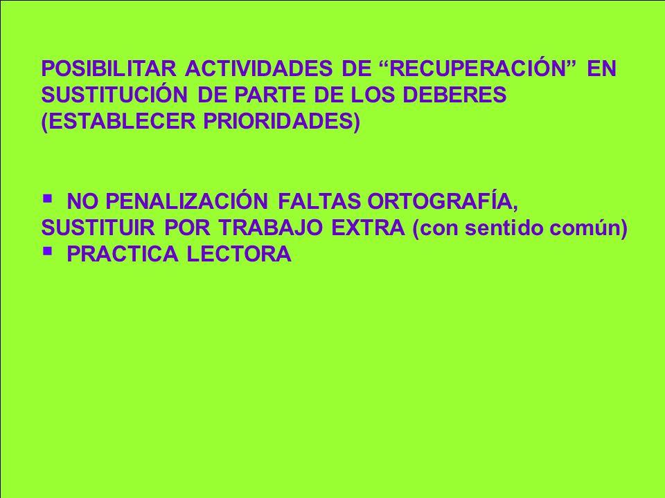 POSIBILITAR ACTIVIDADES DE RECUPERACIÓN EN SUSTITUCIÓN DE PARTE DE LOS DEBERES (ESTABLECER PRIORIDADES)