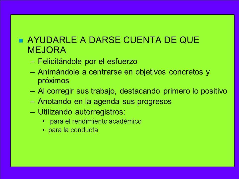AYUDARLE A DARSE CUENTA DE QUE MEJORA