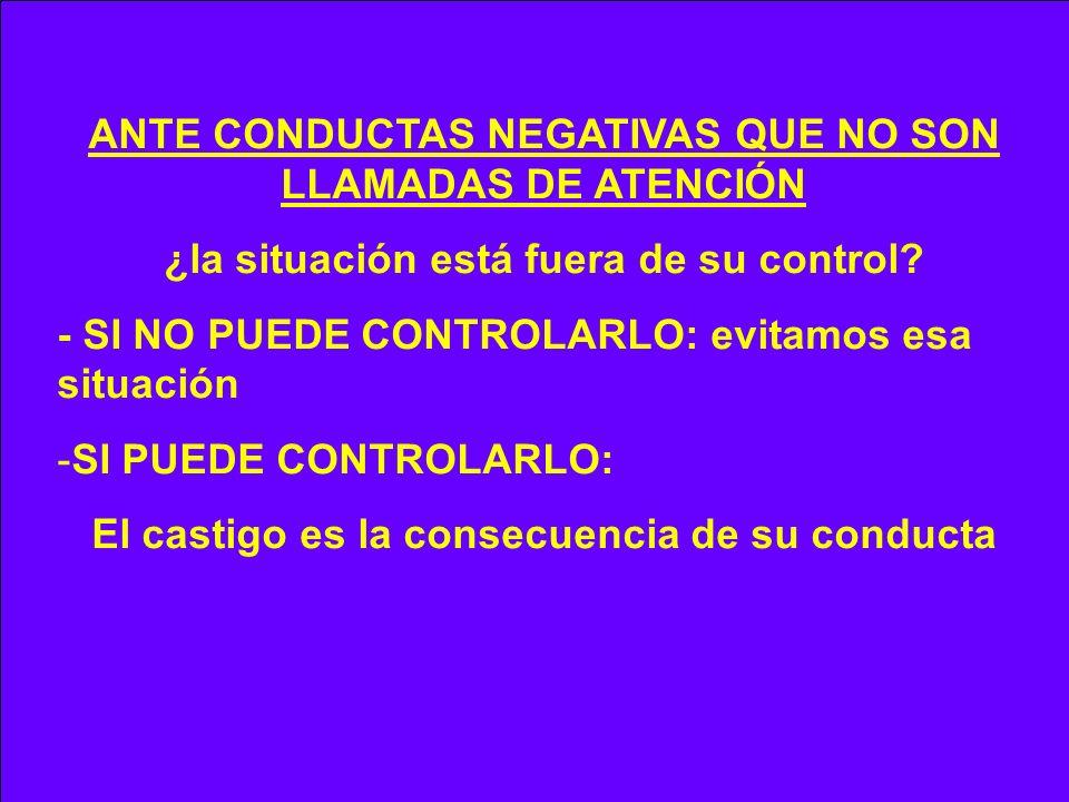 ANTE CONDUCTAS NEGATIVAS QUE NO SON LLAMADAS DE ATENCIÓN
