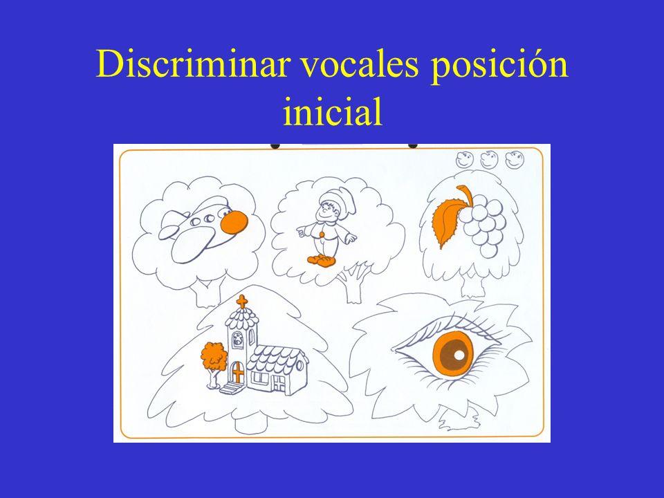 Discriminar vocales posición inicial