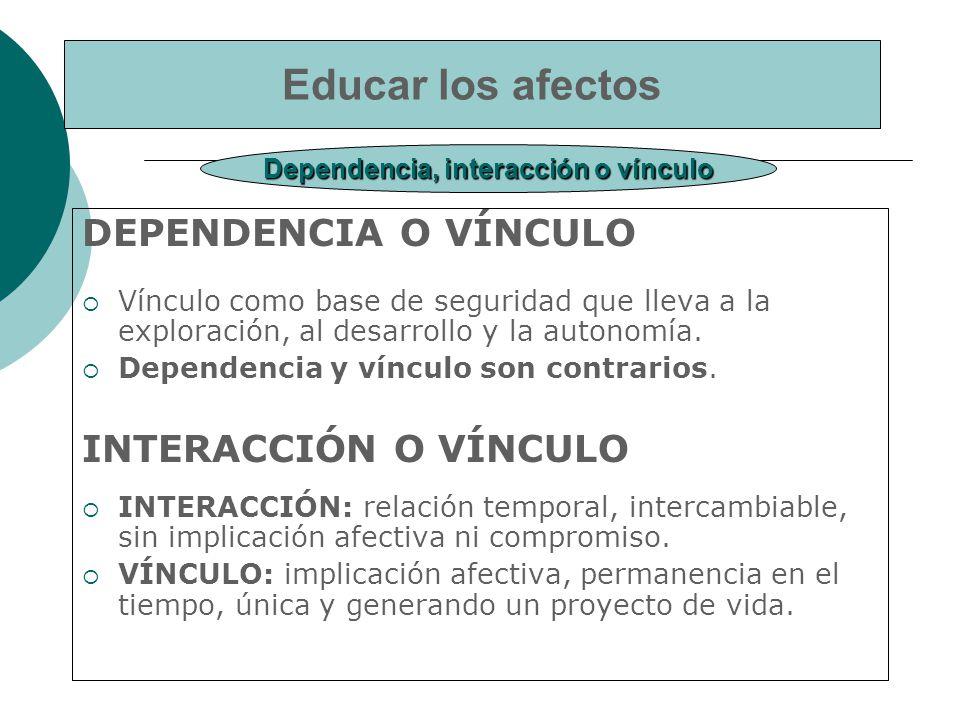 Dependencia, interacción o vínculo