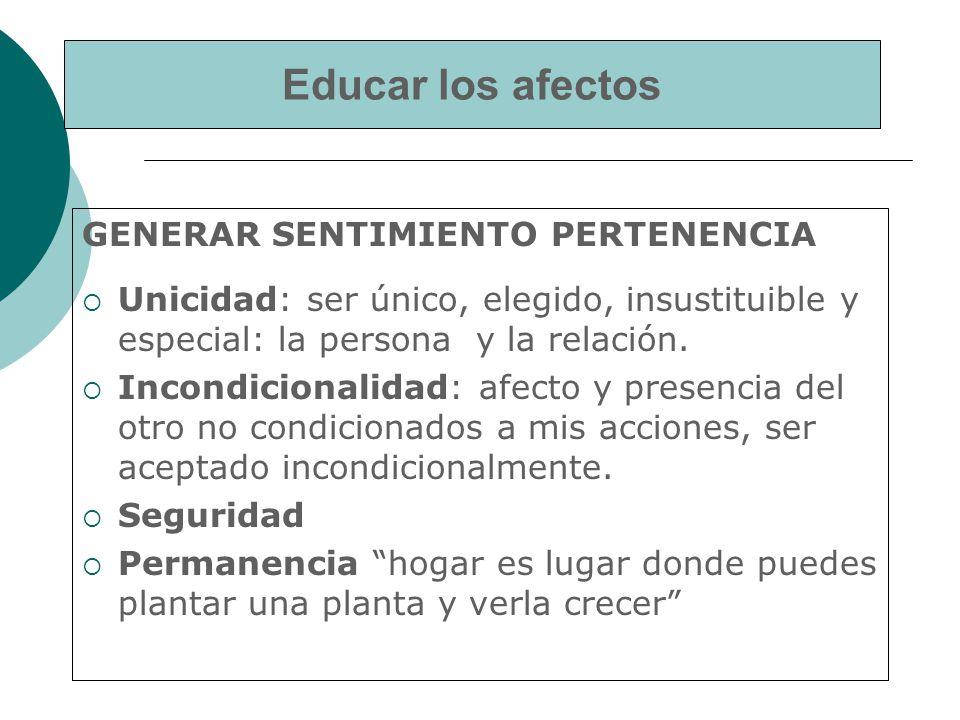 Educar los afectos GENERAR SENTIMIENTO PERTENENCIA