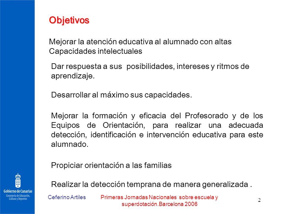 Objetivos Mejorar la atención educativa al alumnado con altas Capacidades intelectuales.