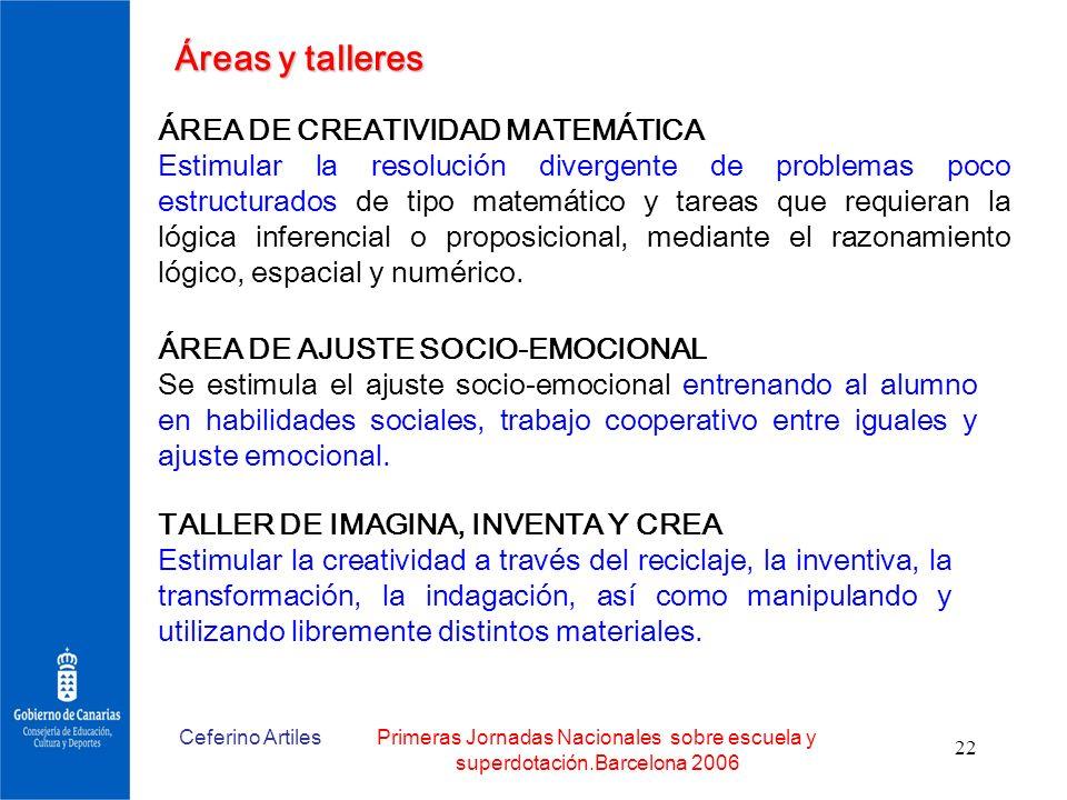 Áreas y talleres ÁREA DE CREATIVIDAD MATEMÁTICA